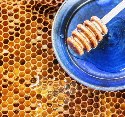 Beeswax from bees treated like queens